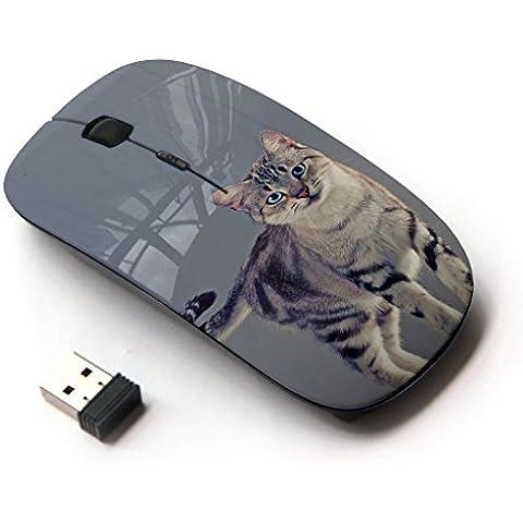 Peculiar-Star ( Sokoke Serengeti American Shorthair ) Impreso colorido ultrafino sin hilos óptico del ratón de 2,4 GHz-Negro