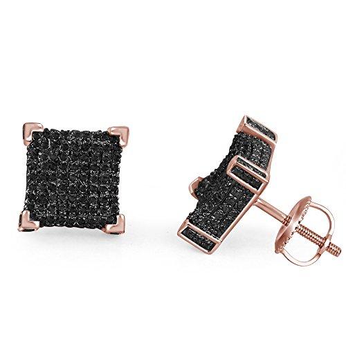 lilu Jewels Design unique Coupe ronde Noir véritable diamant en argent sterling 925boucles d'oreilles Cube Big Block Vis Arrière 14k Rose Gold Plated