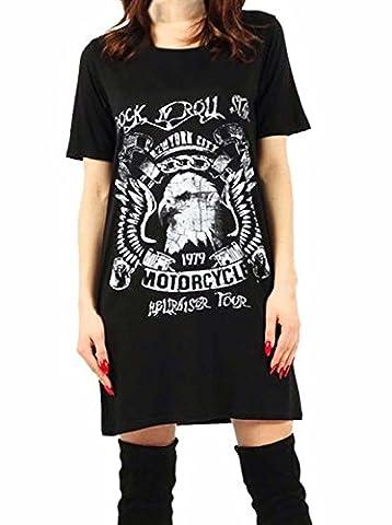 Women's Ladies Choker Neck T shirt Dress Biker King Of Road Rock N Roll Sleeve Slogan Printed Tops (UK 24/26, Rock n Roll Eagle