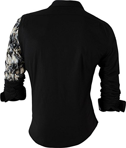 Sportrendy Herren Freizeit Hemden Slim Button Down Long Sleeves Dress Shirts Tops MFN2_JZS041 JZS049_Black