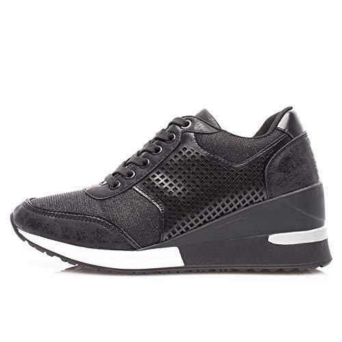 Sneakers con Zeppa Stringate Donna - Scarpe Ginnastica Fitness da Donna, Scarpe Sportive Donna Tacco 6 cm SM1-BLACK-39