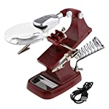ZIGLY LED Light Helping Hands Magnifier Station - 2X 4X USB Lighted Hands Free Magnifying Glass Stand with Clamp and Alligator Clips,Brown