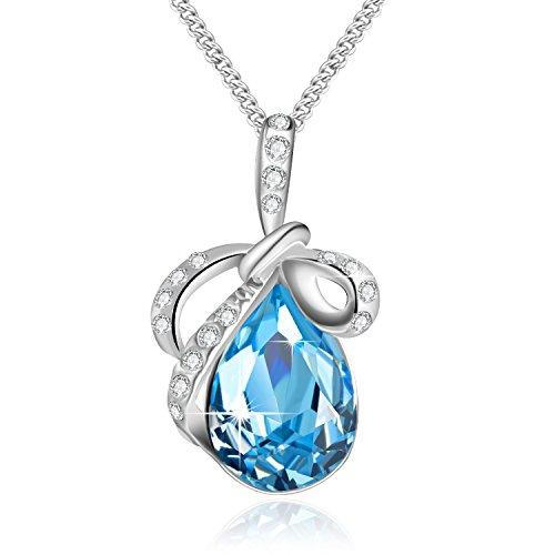 Swarovski collana di cristallo a goccia collana farfalla zaffiro collana per le donne regalo di pietra dei nati gioielli rodiato