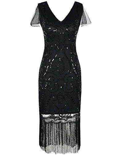 ge Gatsby Kleid 1920er V-Ausschnitt Inspiriert Pailletten Franse Charleston Kleid M Schwarz (20er Jahre Kleid Schwarz)
