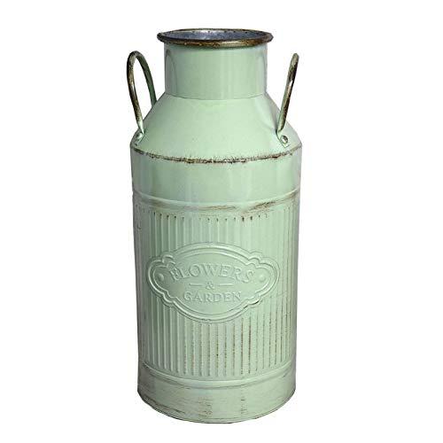 Hogar y mas portaombrelli in metallo di alta opale verde latte vintage con manici, fiori e giardino.
