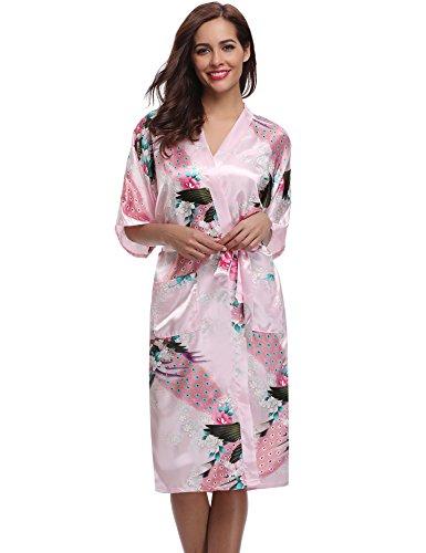 Aibrou Femme Motif Exotique Paon Fleur Kimono chemise de nuit Satin Peignoir (Small, longue Rose Clair)