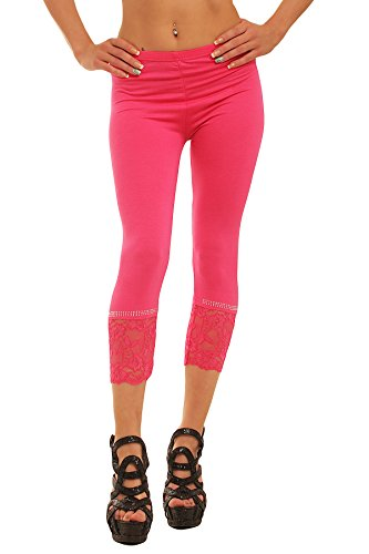 Fashion4Young Damen Sexy Capri-Leggins Leggings 3/4 Hose mit Strass oder Schleife Gr. 34 36 38 (One Size 34 36 38, Pink1)