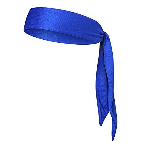 ort-Stirnband Kopf Krawatte schweisstransport atmungsaktiv dehnbar rutschfeste Unisex Schweißband Kopf Schal für Tennis Running Workout Karate Yoga, blau ()