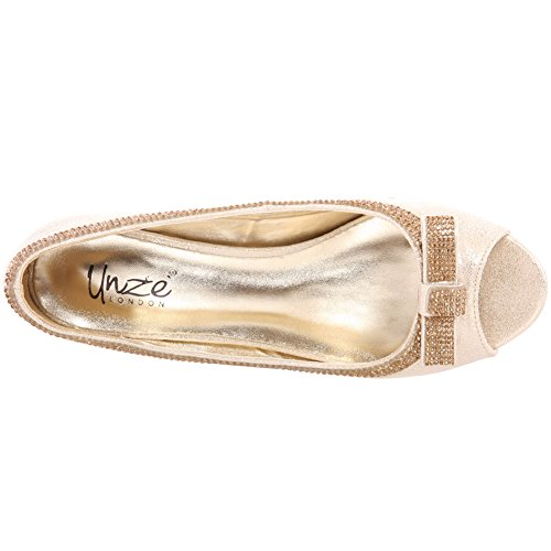 Unze Women Bazzle Evening Party Get-Together Soiree Carnival Court Shoes Royaume-Uni Taille 3-8 Or
