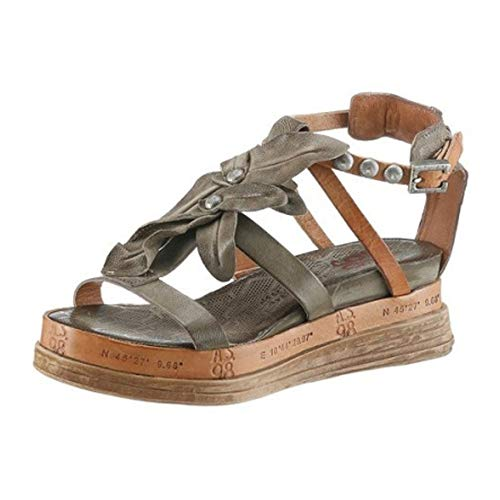 A.S.98 Airstep Damen Sandale Sandalette Ledersandale Khaki Schuhgröße EUR 39