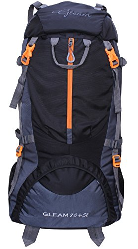 Gleam 0109 Climate Proof Mountain Rucksack , Hiking , Trekking , Campaign Bag , Backpack 75 Ltrs Black & Grey Rucksack With Rain Cover