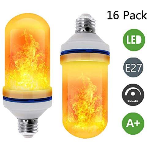 Auccy Vintage Flamme Lampe LED Flammen Glühbirne E27 5W 4 Modi mit Upside-Down-Effekt Glühlampe Flackernde Lampe für Home, Hochzeit, Party, Weihnachten, Festivaldekoration (16 Stück) (Led-lampe 578)