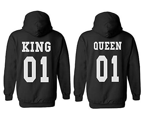 King Queen 01 Couple Matching Valentines Love Black Men Women Unisex Hooded Sweatshirt Hoodie-L