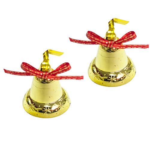 BESTOYARD 18 Stück Weihnachtsbaum Glocken Anhänger Weihnachtsanhänger Christbaumschmuck Baumschmuck Glöckchen Weihnachtsdeko zum Aufhängen (Golden)