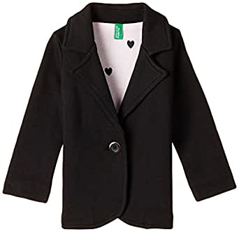 United Colors of Benetton Girls' Casual Jacket (15A3STRISAF6I100_Black_XS)