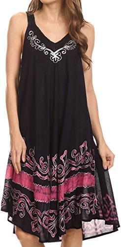 Sakkas 16605 - Gasha Sleeveless Mid Length Kaftan Kleid mit Stickerei Details und V-Ausschnitt - Navy/Pink - OS Back Tank Dress