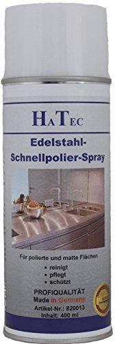 HaTec Edelstahl Pflegespray ohne Ölzusatz, Edelstahl Schnellpolier Spray 400 ml Edelstahlpolitur, Edelstahlreiniger, Edelstahlpflege, VA-Reiniger, VA-Pflege