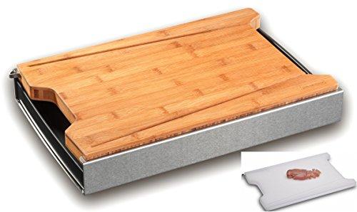 PROFI Schneidbox mit Küchenbrett aus Bambus + Kunststoff-Brett  Auffangbehälter  Messerschonend   Massives Schneidebrett aus Holz mit Auffang-Schale