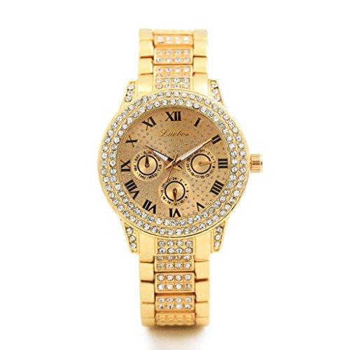 Roman, mamum Metall Doppel HSS-Quarz Armbanduhr Armband Quarz Armband Gold Armband Kristall Diamant Gold Watch Einheitsgröße gold