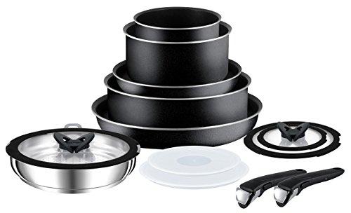 Tefal Ingenio Essential Non-stick Saucepan Set, 13 Pieces - Black