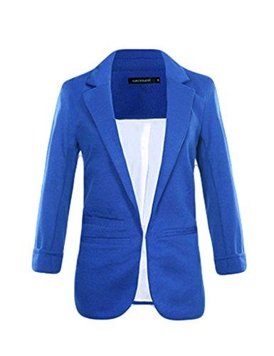 Office-candy (Bestgift Damen Blazer Candy Farben Anzug Lose Trenchcoat Office Kurz Jacke Dunkel Blau XS)