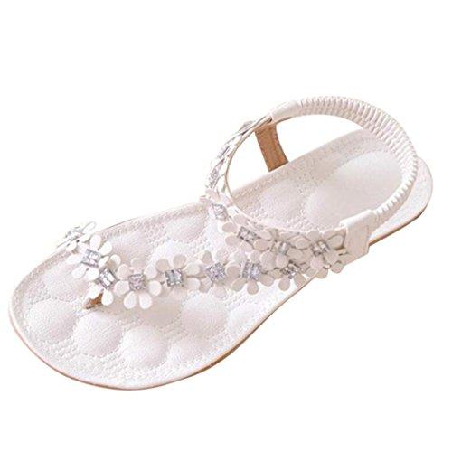 Sandalen Damen Sommer Btruely Mode Böhmen Sandalen Damen Flach Sandalen Mädchen Schuhe Flip Flops Blume Strandschuhe (38, Weiß)