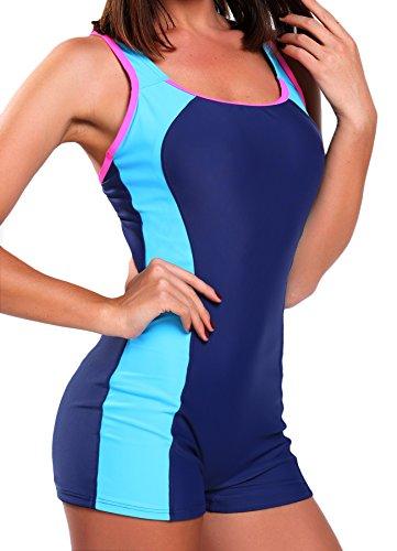 FITTOO Damen Vintage Figuroptimizer X-Rücken Einteiliger Sport Badeanzug mit Bein Blau M