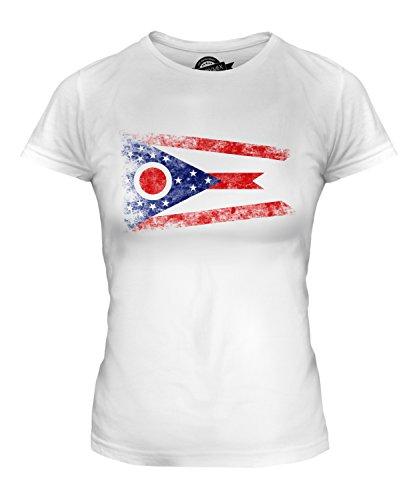 CandyMix Bundesstaat Ohio Weinlese Flagge Damen T Shirt, Größe X-Large, Farbe Weiß (Jersey Ohio T-shirt)