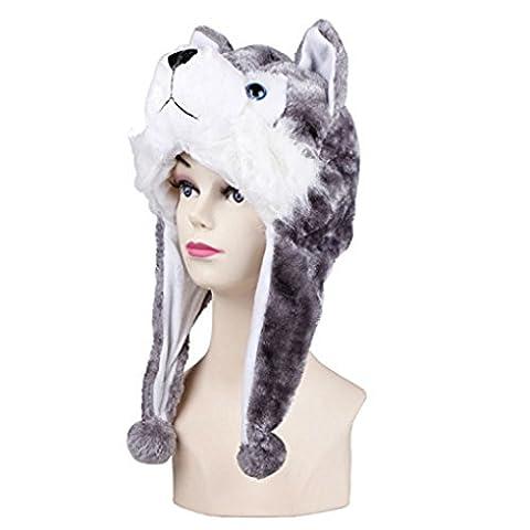 Viskey Animal Plüsch Mütze mit Ohrenklappen, - Husky