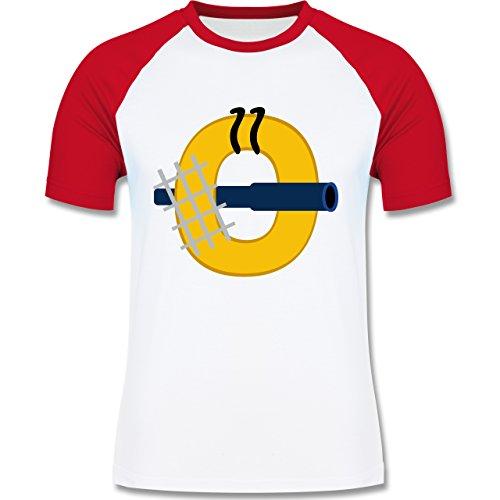 Anfangsbuchstaben - O Schifffahrt - zweifarbiges Baseballshirt für Männer Weiß/Rot