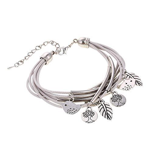 Mnjlb bracciale donna nuovo multi tubo filo di cera oro placcato argento bracciale e braccialetto per l'estate monete uccello foglia d'epoca braccialetto grigio per