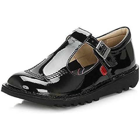 Kickers Joven Negro Kick T Bar Patent Cuero Zapato