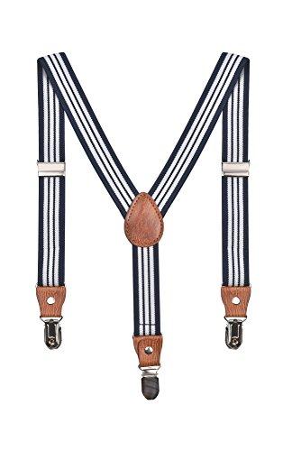 Baby Kinder Hosenträger Streifen Gürtel Elastisch Leder 3 Clips Jungen Mädchen Hosen Röcke Tutu Shorts Bequem Träger - Marineblau Weiß