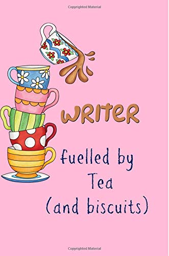 Writer fuelled by Tea (& biscuits): Gifts for a writer, Notebook, Journal,6x9 college ruled,unique,Writing,funny,presents,Christmas,Birthday, por Blueberry Notebooks