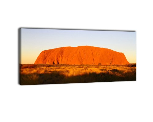Leinwandbild Panorama Nr. 149 Ayers Rock Sunset 100x40cm, Keilrahmenbild, Bild auf Leinwand, Australien Outback Uluru