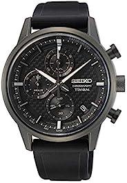 Seiko Chronograph Quartz Black Dial Black Titanium Men's Watch SS