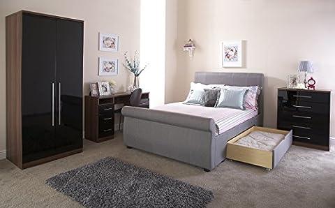 Alabama 5ft King Size 2 Drawer Bedstead - Silver Hopsack Fabric