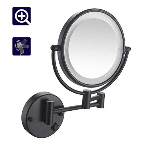 XNDCYX 8 Pulgadas Negro Espejo De Aumento De Pared, Espejo Tocador con Luz LED, 10X Aumento Doble Cara...