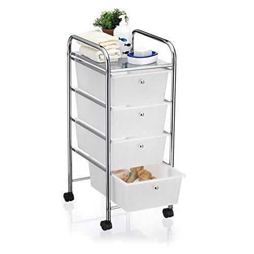 CARO-Möbel Bad Rollwagen SANO Rollcontainer Haushaltswagen Badtrolley Badregal aus verchromtem Metall mit 4 Schubladen -