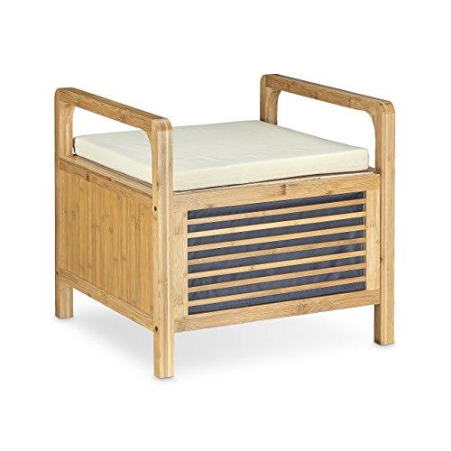 Relaxdays Banc de rangement en bambou tabouret de salle de bain avec assise HxlxP: 46 x 50,5 x 50 cm siège avec coussin repose-pieds, nature
