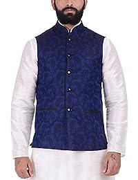 Kisah Navy Blue Jaquard Cotton Silk Men's Waistcoat