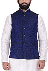Kisah Jaquard Cotton Silk Navy Blue Mens Nehru Jacket