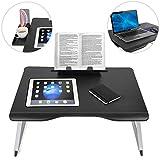 Cooper Table Mate [Tavolino per laptop pieghevole per letto/divano], Scrivania da letto per laptop, Scrivere, Studiare, Mangiare |Porta oggetti, Leggio (Onice nera)
