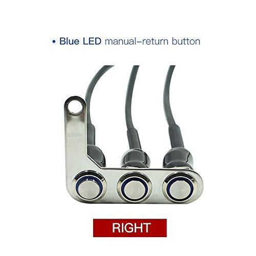 Motorrad-Schalter, verstellbare Montage, wasserdichter EIN-/Aus-Schalter, 3 Tasten für Scheinwerfer, Horn, Signle mit LED (R-B) Schwarz