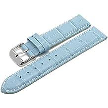 Meyhofer EASY-CLICK Uhrband Marseille 22mm hellblau Alligator-Prägung weiße Naht My2hesl3013