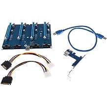 Sharplace Pci-e 1x A 4puertos Pci-e 16x Slot Riser Cable de Tarjeta de Expansión Externa Kit Accesorios