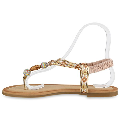 Damen Zehentrenner Metallic Sandalen Lederoptik Schuhe Flats Dianetten Ethno Party Schuhe Abiball Creme Verzierung