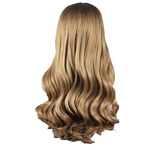 Muamaly Damen Perücke Lang Blond Mode Sexy 60cm Wellen Lockig Hair Synthetische Hitzebeständig Wig für Karneval Fasching Cosplay Party
