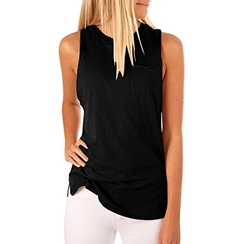 Kobay Women Tank Tops, Ladies' High Neck Tank Sleeveless Blouse Plain T Shirts Pocket Camisole Summer Tops