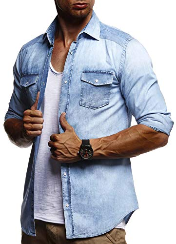 LEIF NELSON Herren Freizeithemd Jeans Hemden Jacke Weste Verwaschen Langarm Kurzarm T-Shirt LN9201N; Small, Hell Blau